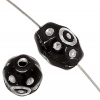 Glass Bead 9X7mm Black Silver- Painted Rosary Beads